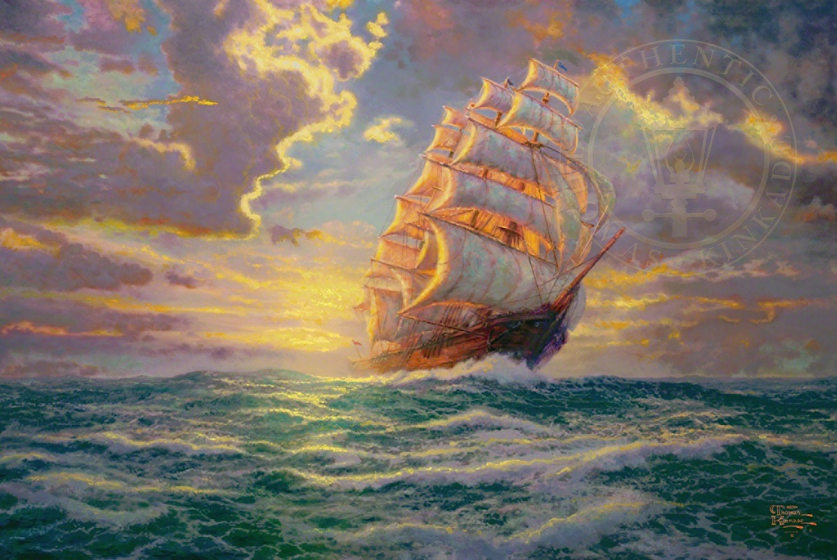 Pirate ship painting sunset