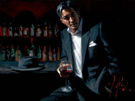 fabian perez black suit red wine