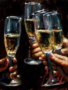 fabian perez brindis con champagne