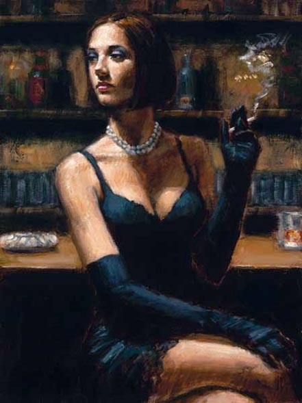 fabian perez brunette at the bar