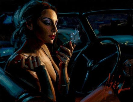 fabian perez darya in car with lipstick