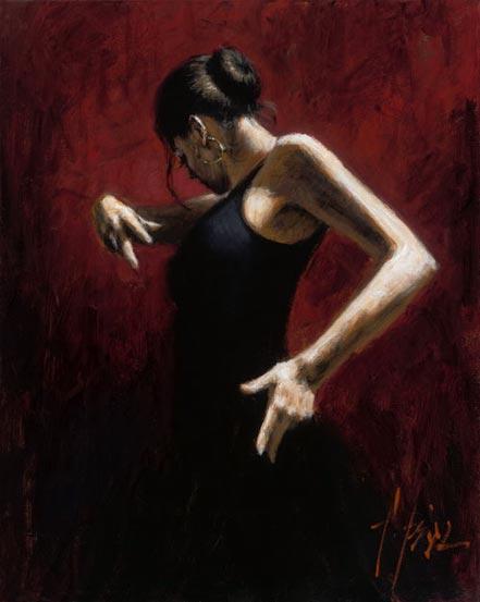 fabian perez el baile del flamenco en rojo