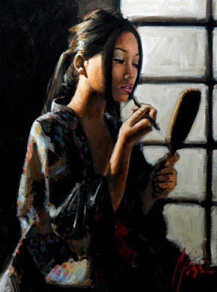fabian perez geisha with mirror