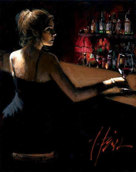 fabian perez girl at bar with red light