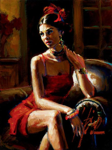 fabian perez linda in red