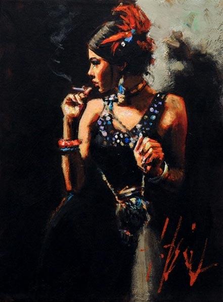fabian perez linda smoking under the light