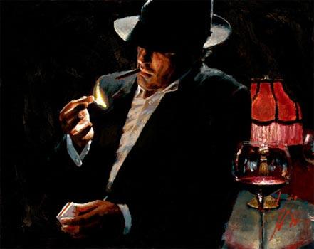 fabian perez man lighting cigarette ii