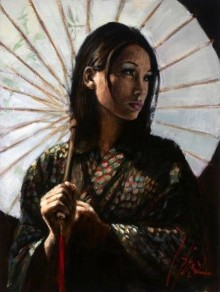 fabian perez michiko ii with white umbrella