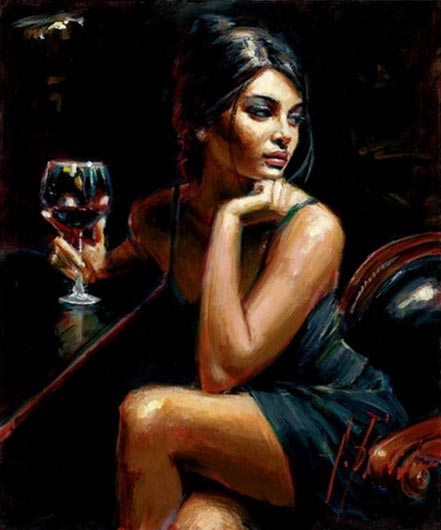 fabian perez saba with red wine