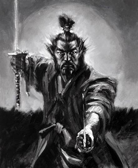 fabian perez samurai black and white
