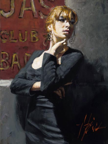 fabian perez sandra by the red sign