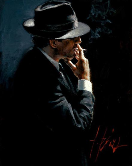 fabian perez smoking under the light iii