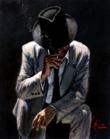 fabian perez smoking under the light with white suit