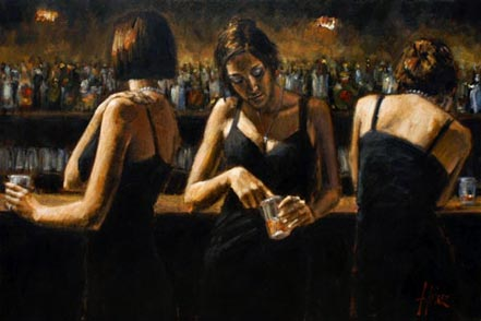 fabian perez study for 3 girls in bar ii