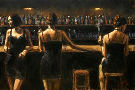 fabian perez study for 3 girls in bar