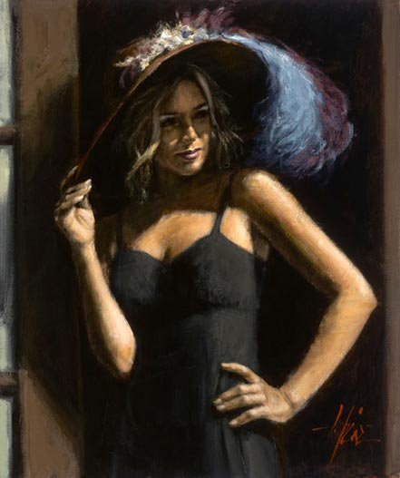 fabian perez study for girl with hat