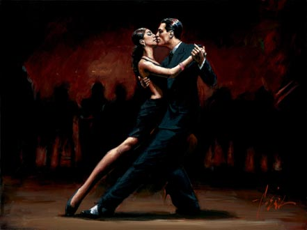 fabian perez tango in paris in black suit