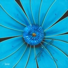 michael godard aqua flower dragonfly