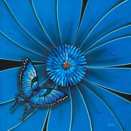 michael godard blue flower butterfly
