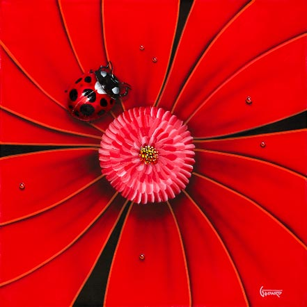 michael godard red flower lady bug