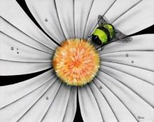 michael godard white flower bumble bee