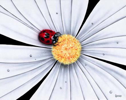 michael godard white flower lady bug