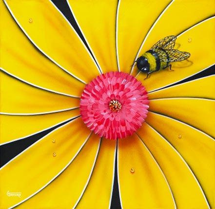 michael godard yellow flowe bumblebee