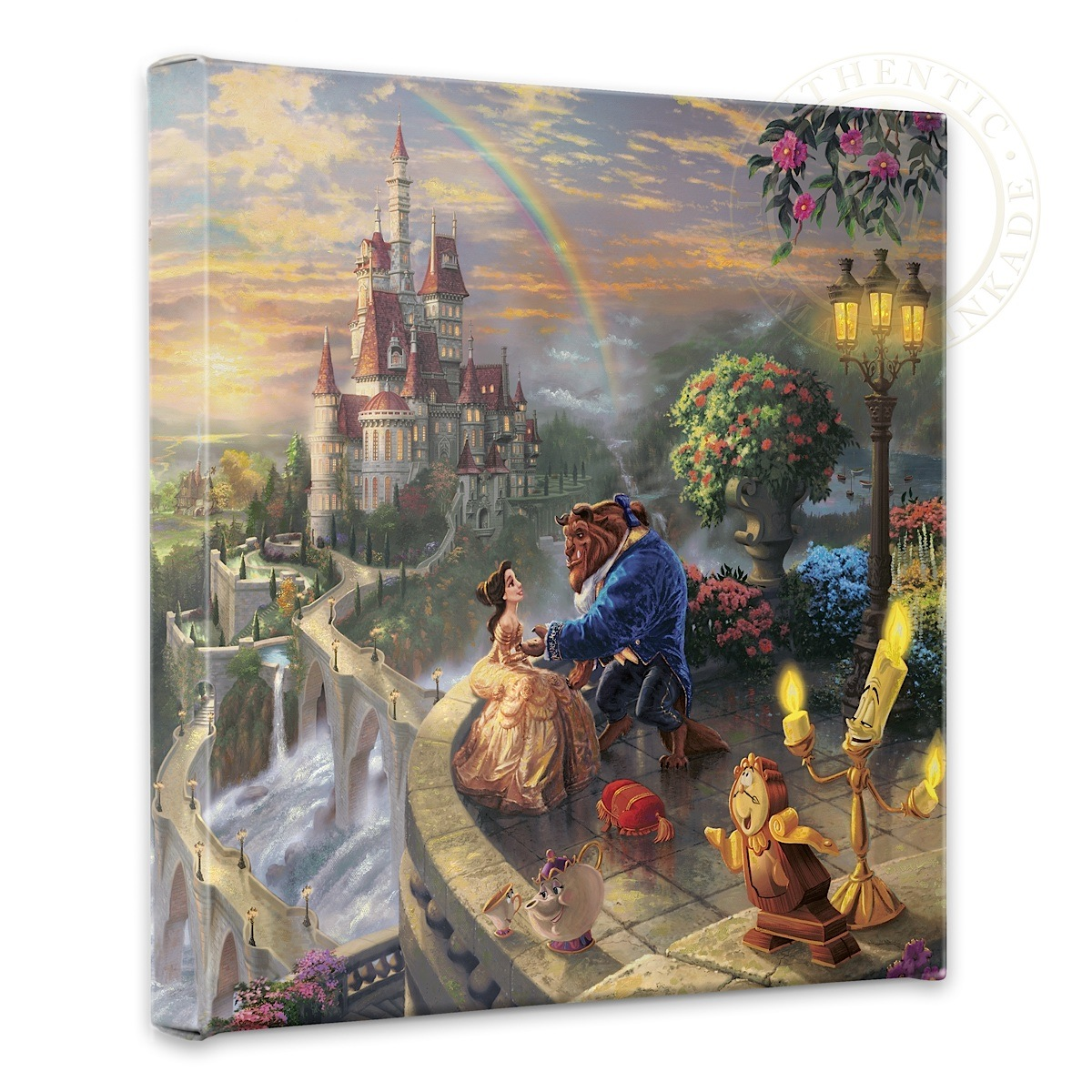 "Beauty and the Beast Falling in Love - 14"" x 14"" Gallery Wrapped Canvas"