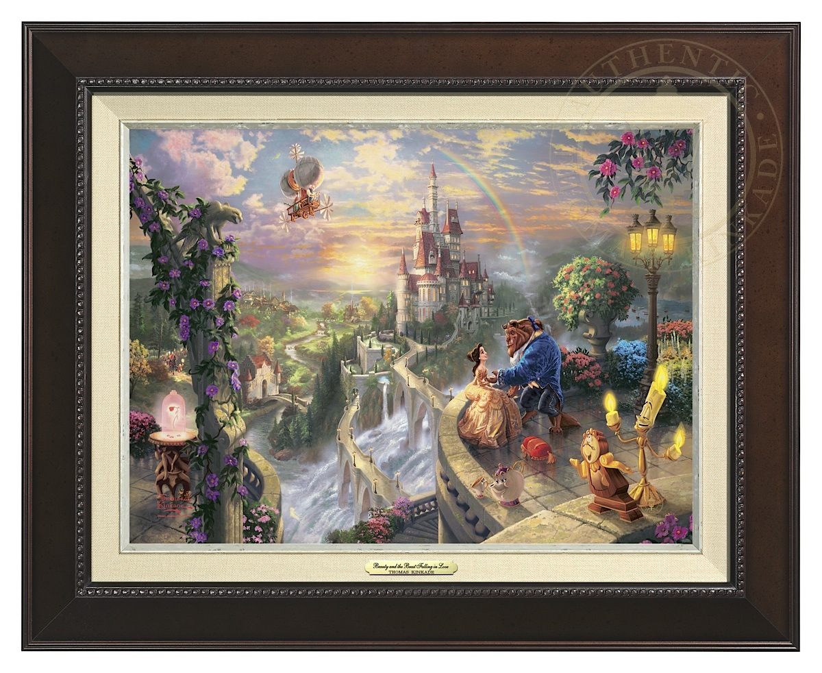 Beauty and the Beast Falling in Love - Canvas Classic (Espresso Frame)