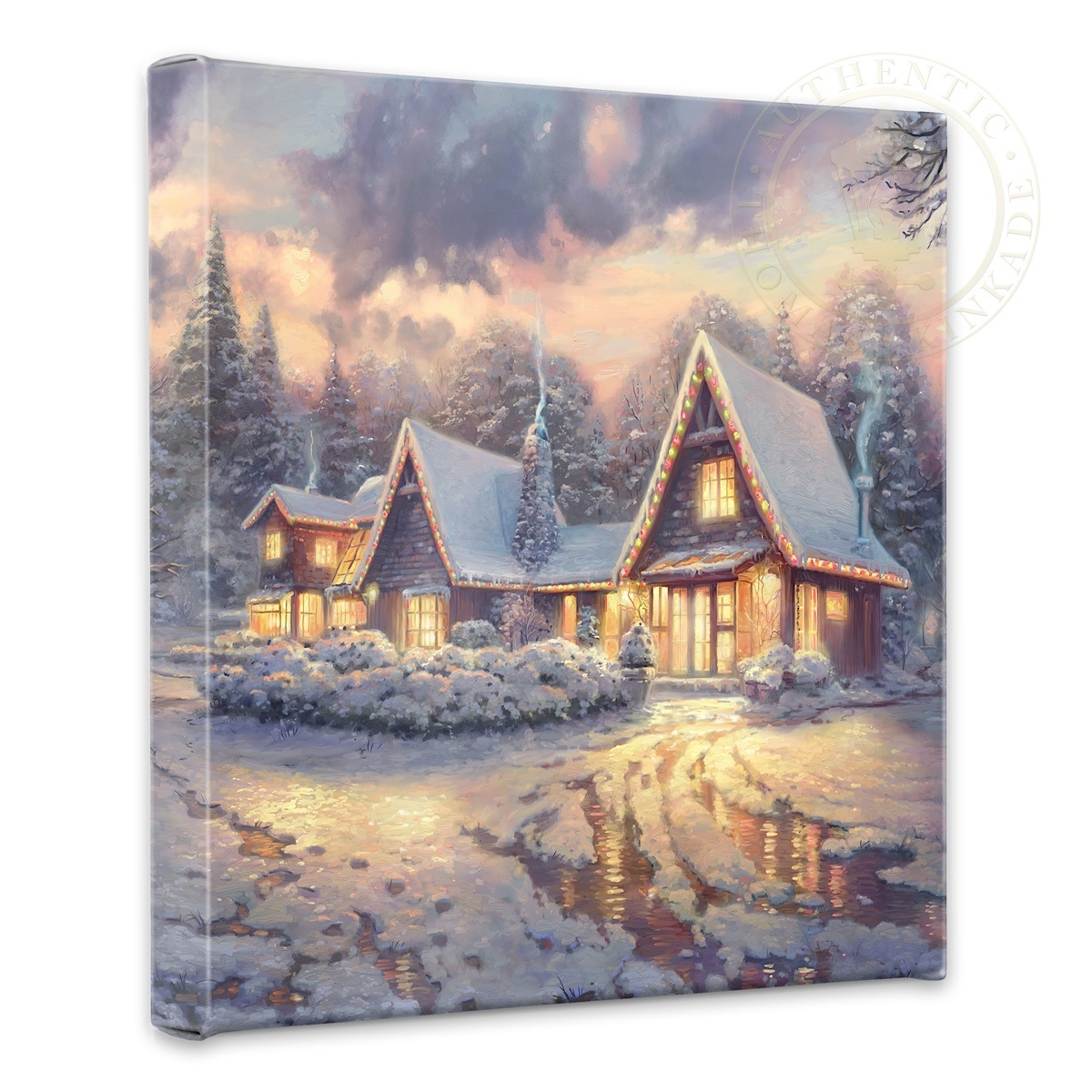 "Christmas Lodge - 14"" x 14"" Gallery Wrapped Canvas"