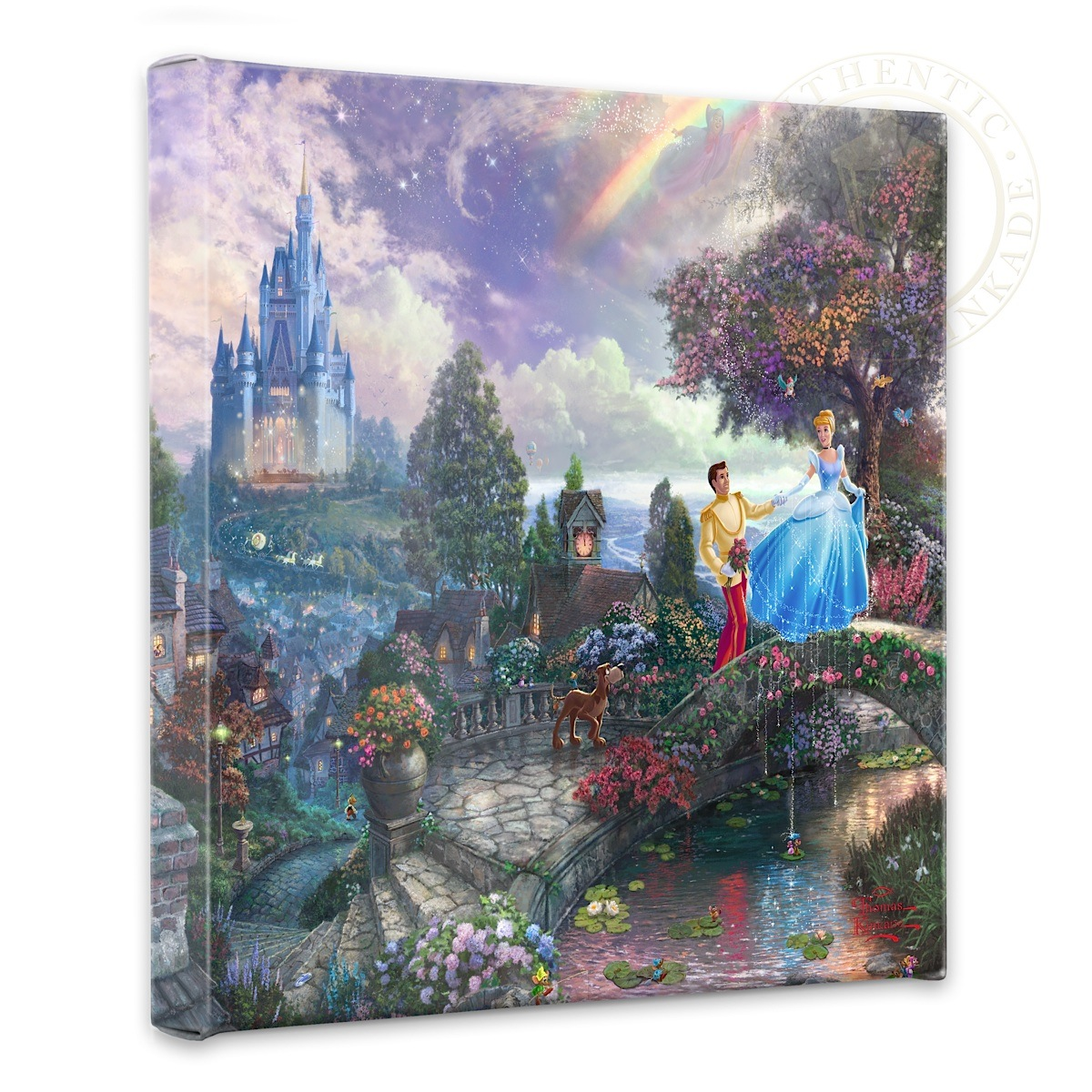Set of 3 Thomas Kinkade The Cottages Wrap 14 x 14 Gallery Wrapped Canvas