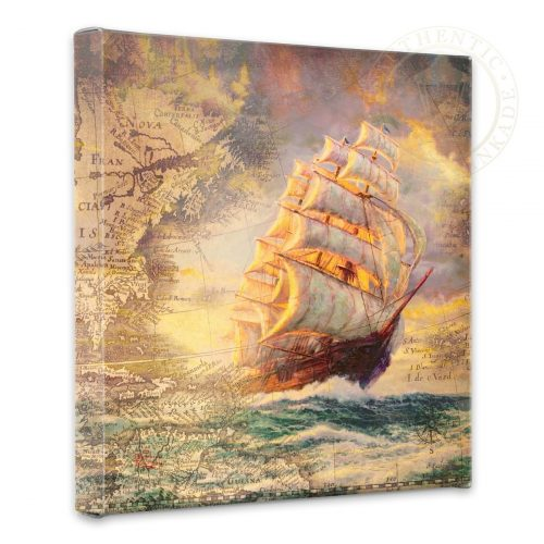 "Courageous Voyage Map Collage- 14"" x 14"" Gallery Wrapped Canvas"