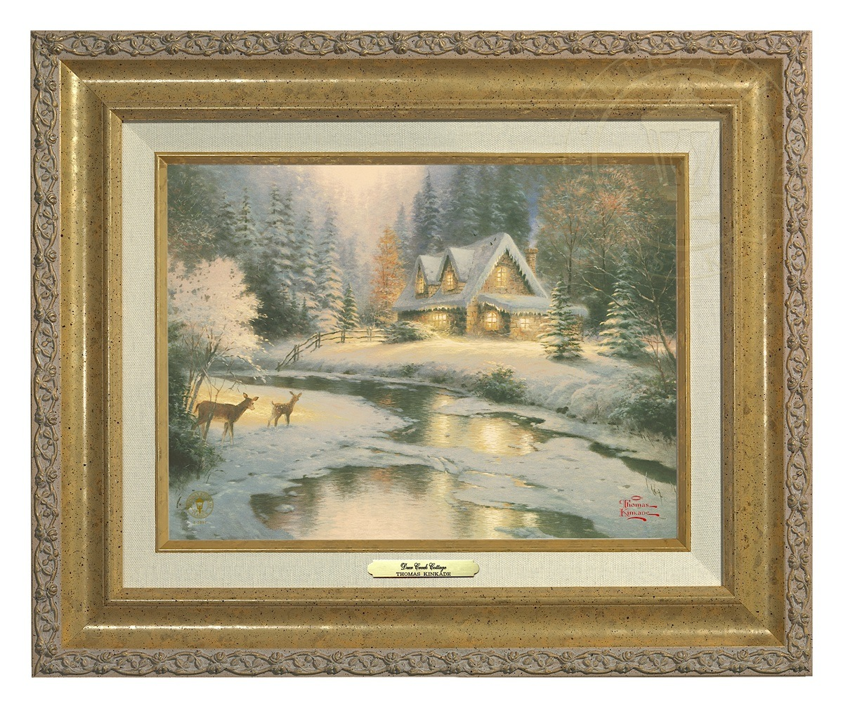 Thomas Kinkade Silent Night 9 x 12 Canvas Classic Burl Frame
