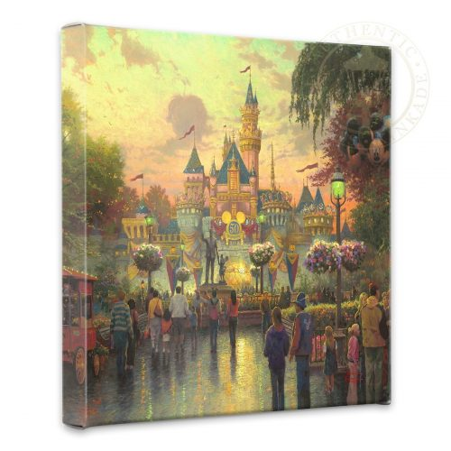 "Disneyland, 50th Anniversary - 14"" x 14"" Gallery Wrapped Canvas"