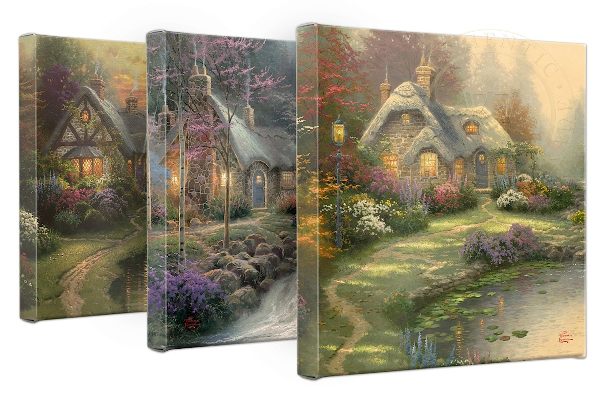 Stupendous Thomas Kinkade Cottages Set Of 3 14 X 14 Gallery Wrapped Canvases Home Interior And Landscaping Ologienasavecom