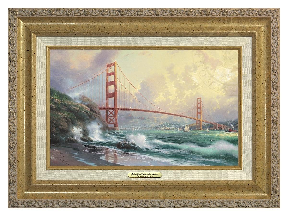 San Francisco, Golden Gate Bridge - Canvas Classic (Gold Frame)