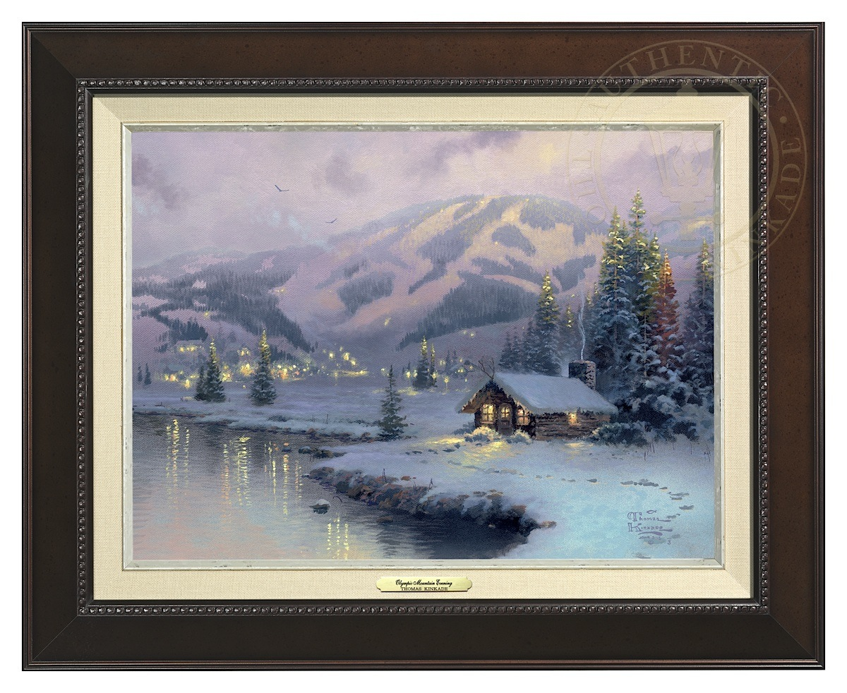Olympic Mountain Evening - Canvas Classic (Espresso Frame)