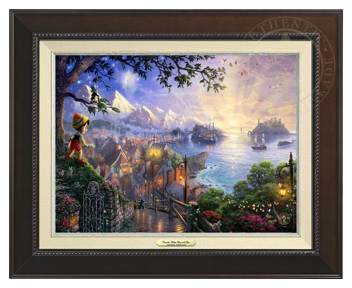 Pinocchio Wishes Upon A Star - Canvas Classic (Espresso Frame)