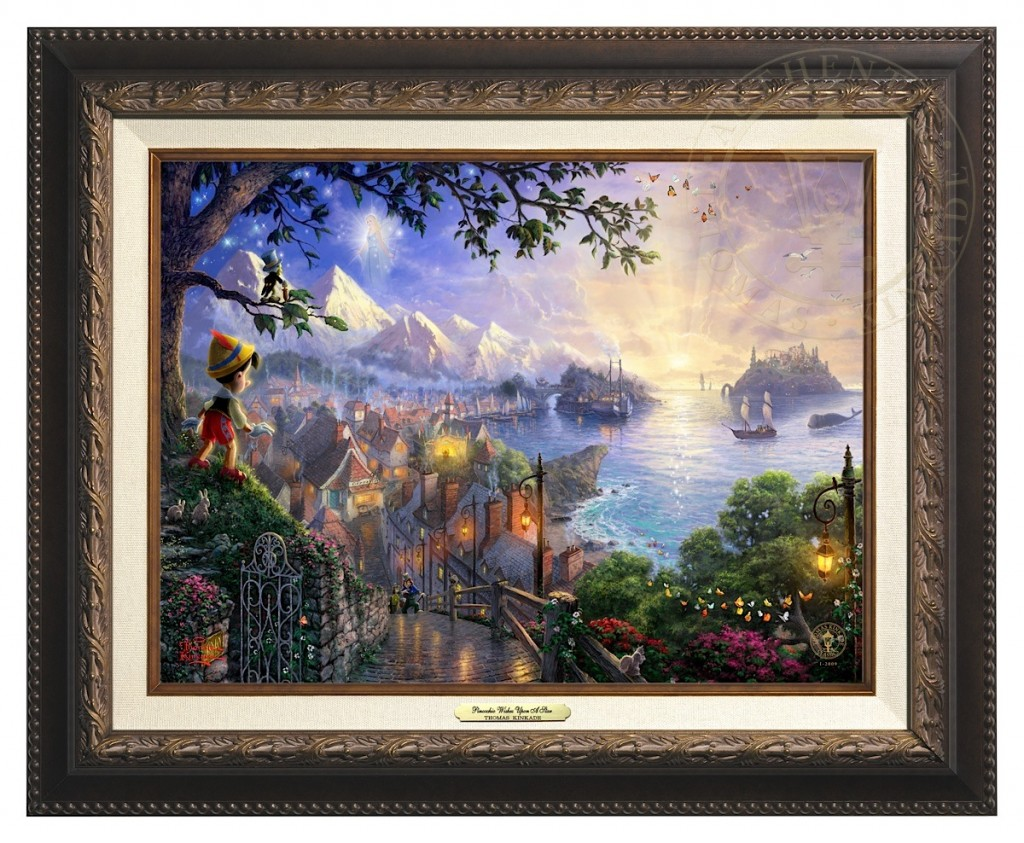Pinocchio Wishes Upon A Star - Canvas Classic (Aged Bronze Frame)