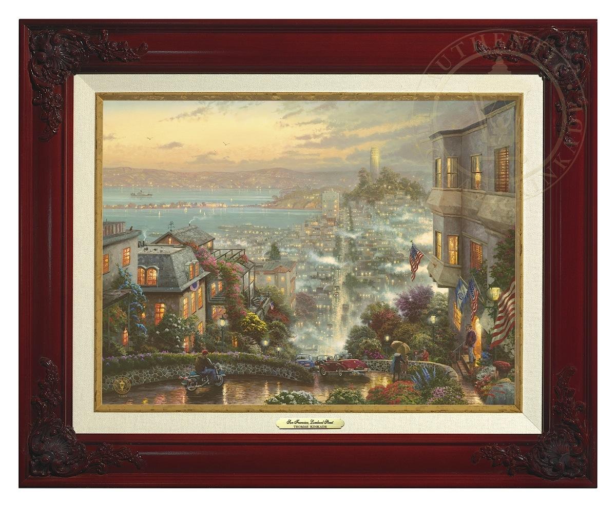 San Francisco, Lombard Street - Canvas Classic (Brandy Frame)