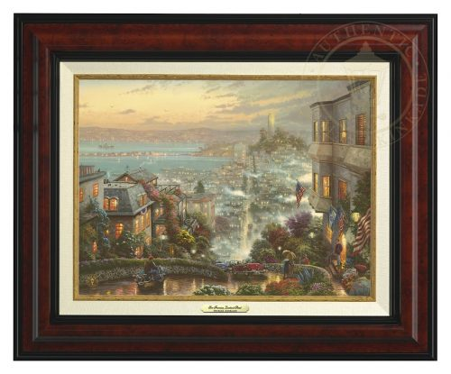 San Francisco, Lombard Street - Canvas Classic (Burl Frame)