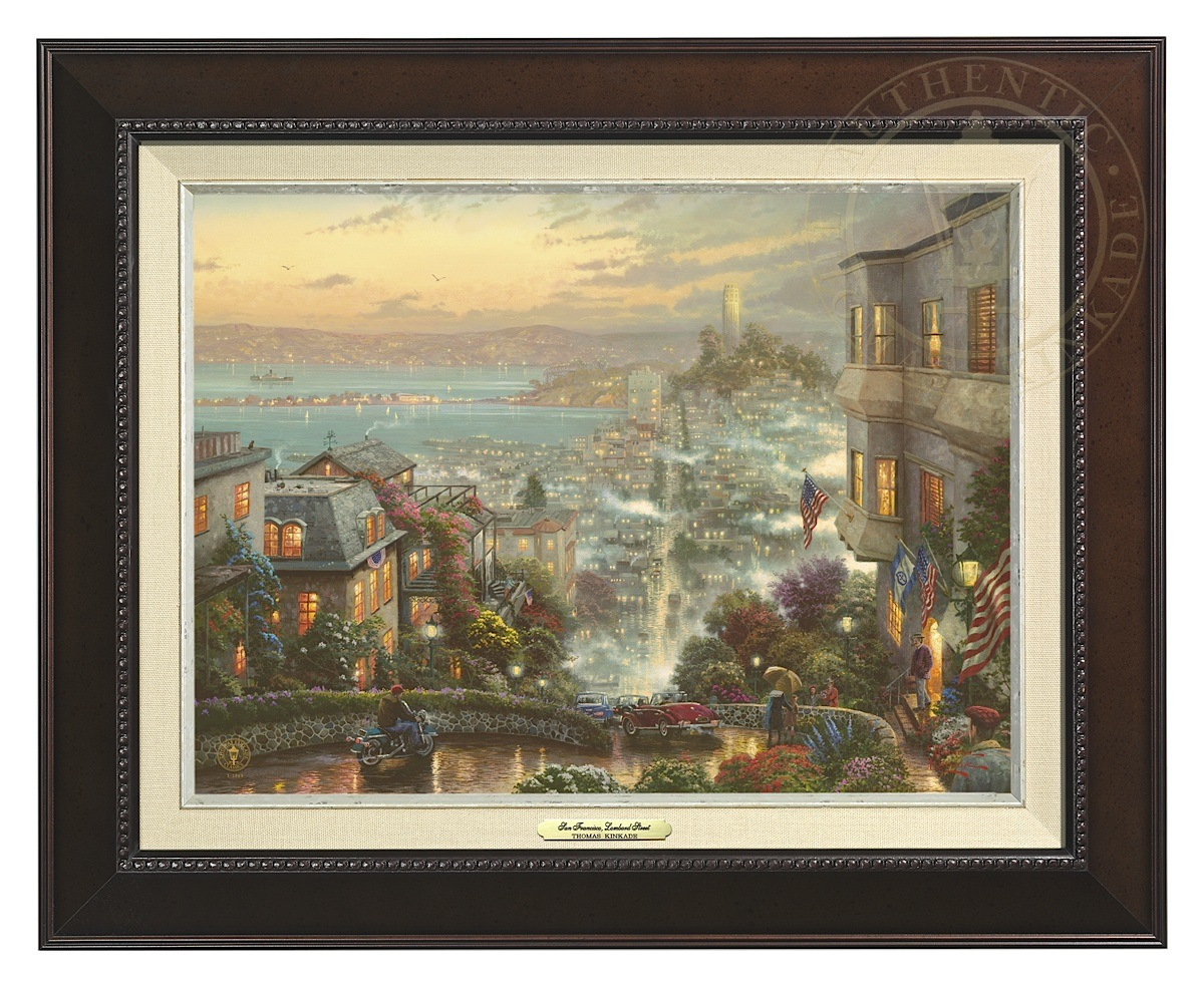 San Francisco, Lombard Street - Canvas Classic (Espresso Frame)