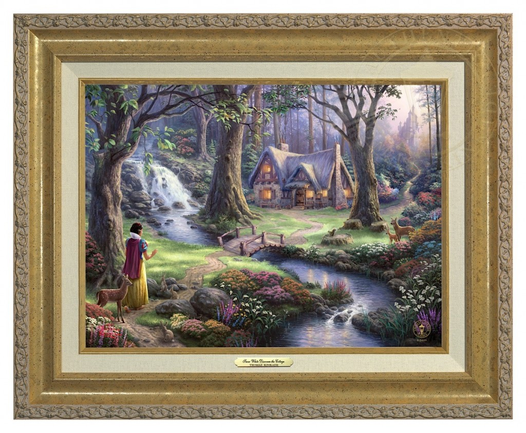 Snow White Discovers the Cottage - Canvas Classic (Gold Frame)