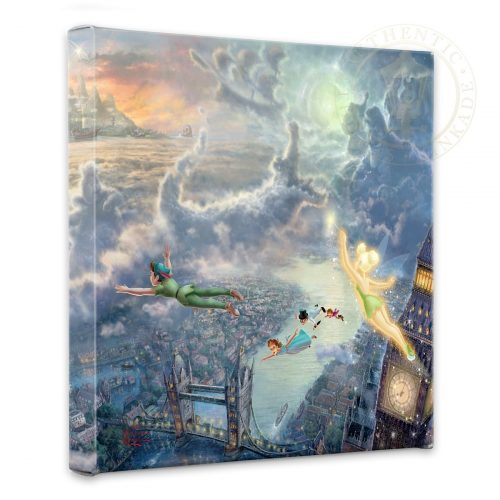 "Tinker Bell and Peter Pan Fly to Neverland - 14"" x 14"" Gallery Wrapped Canvas"