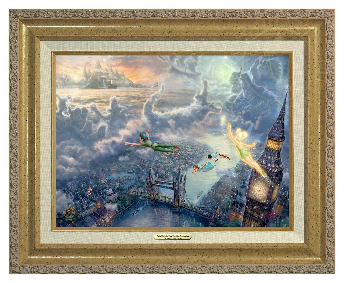 Tinker Bell and Peter Pan Fly to Neverland - Canvas Classic (Gold Frame)