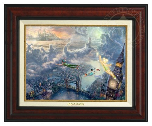 Tinker Bell and Peter Pan Fly to Neverland - Canvas Classic (Burl Frame)