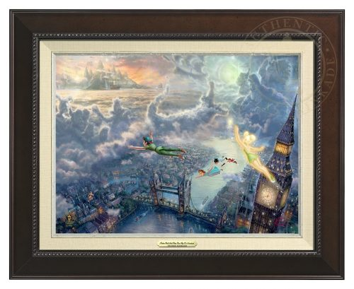 Tinker Bell and Peter Pan Fly to Neverland - Canvas Classic (Espresso Frame)