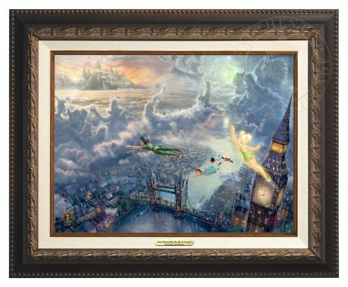 Tinker Bell and Peter Pan Fly to Neverland - Canvas Classic (Aged Bronze Frame)