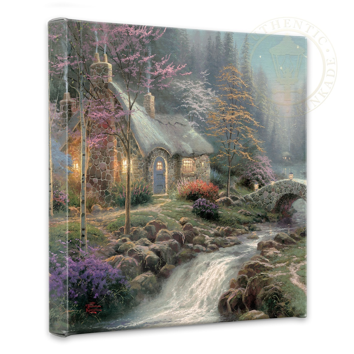 """Twilight Cottage - 14"""" x 14"""" Gallery Wrapped Canvas"""