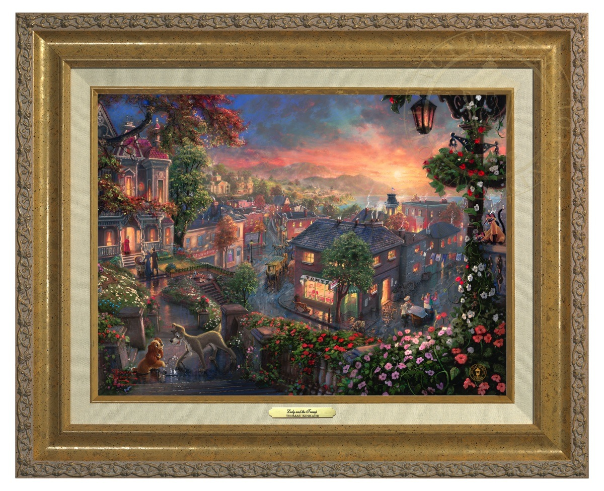 Lady and the Tramp - Canvas Classic (Gold Frame)